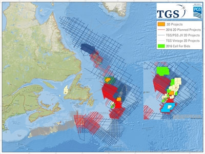 PGS and TGS announce Lewis Hills 3D MultiClient project offshore East Canada